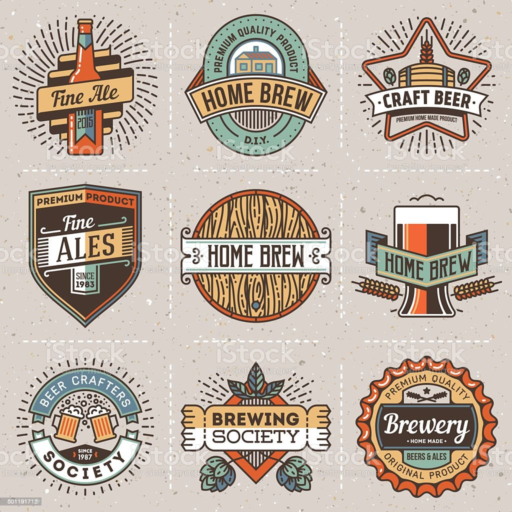 color retro design insignias line art logotypes home brewery set2 royalty free stock vector - Home Brewery Design