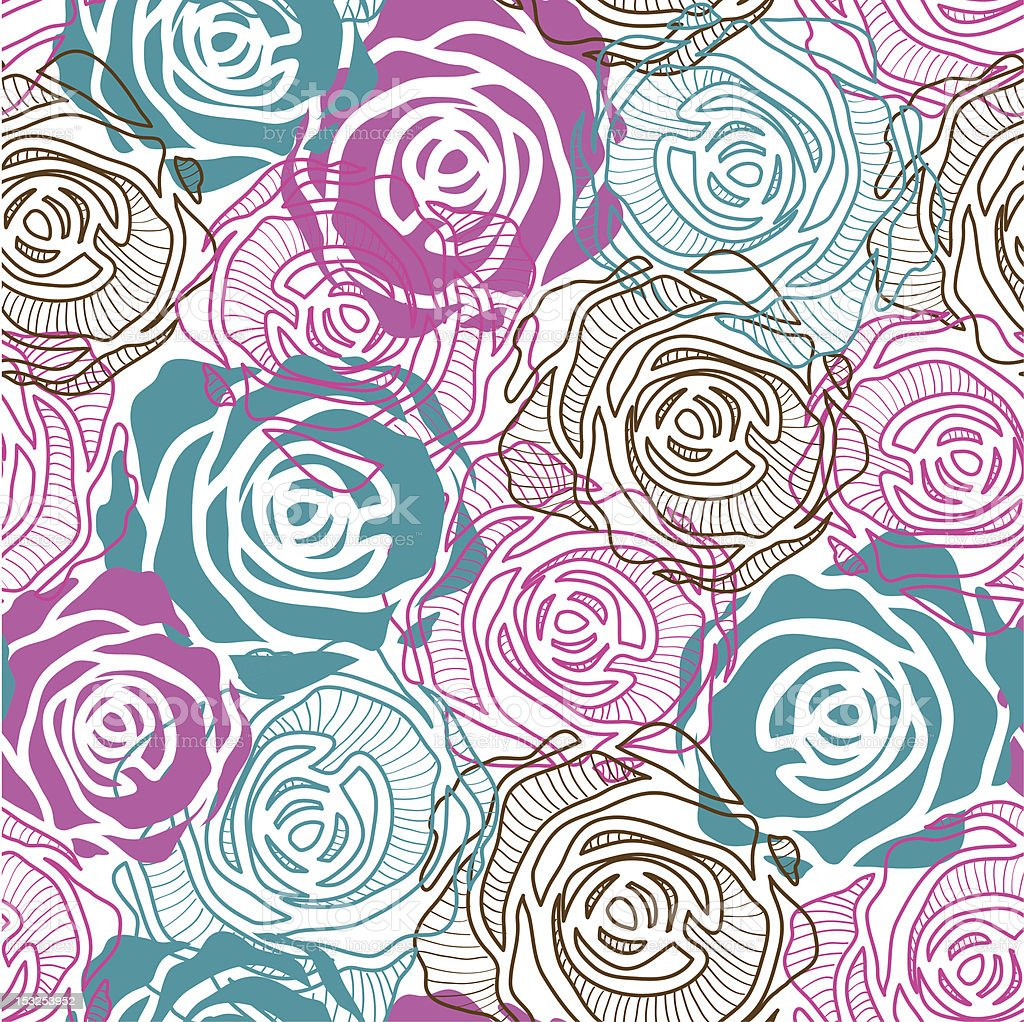 Color rose pattern royalty-free stock vector art