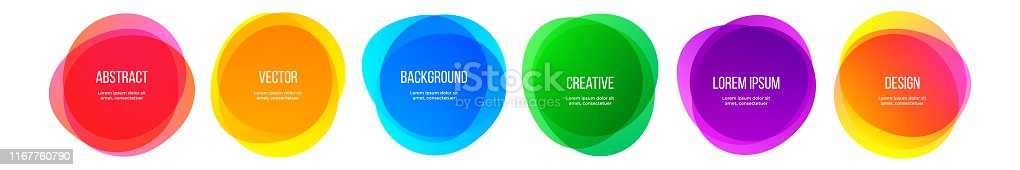 Color round shape banners and abstract colorful rainbow graphic design elements. Vector watercolor brush frames, modern color gradient creative backgrounds