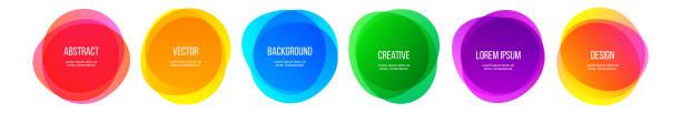 farbe runde form banner und abstrakte bunte regenbogen grafik-design-elemente. vektor aquarell pinselrahmen, moderne farbverlauf kreative hintergründe - color splash stock-grafiken, -clipart, -cartoons und -symbole