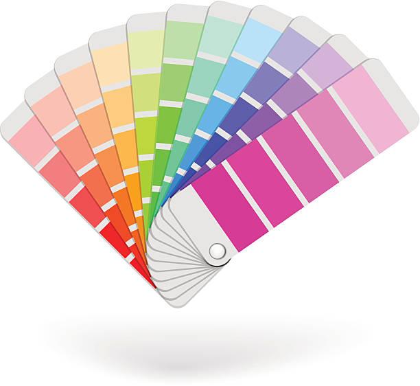 stockillustraties, clipart, cartoons en iconen met color sample catalogue - kleurenwaaier