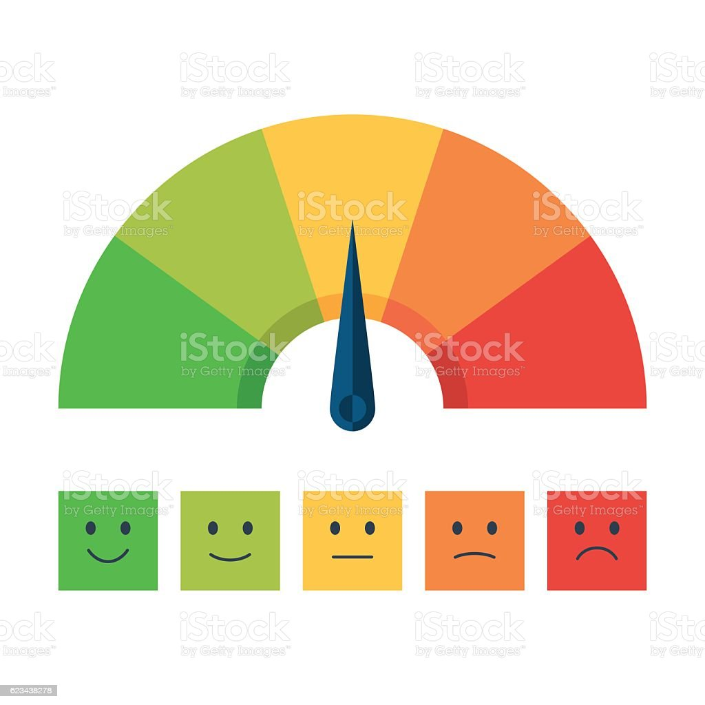 Color scale with arrow and emotions vector art illustration