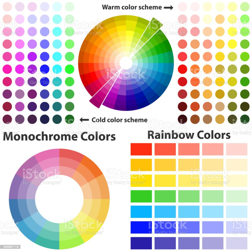 Color scheme, warm and cold colors vector art illustration