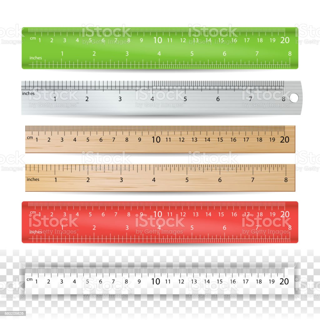 Color School Ruler Vector. Plastic, Wooden, Metal. Centimeters And Inches Scale. Stationery Ruler Tool. Isolated Illustration vector art illustration