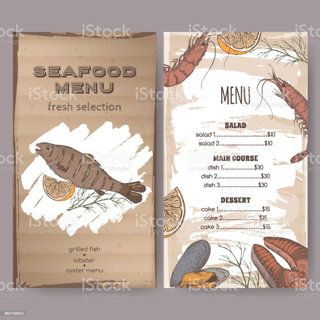 color seafood restaurant menu template with sketch of grilled fish