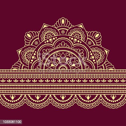 Color Seamless Borders With Mandala For Design Application Of Henna