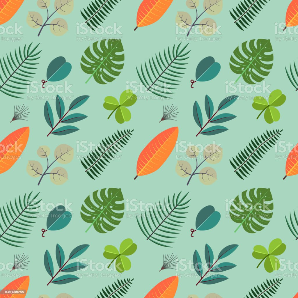 Color Seamless Pattern With Green Palm Leaves Floral Tropical