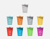 color separation recycle bin icon collection