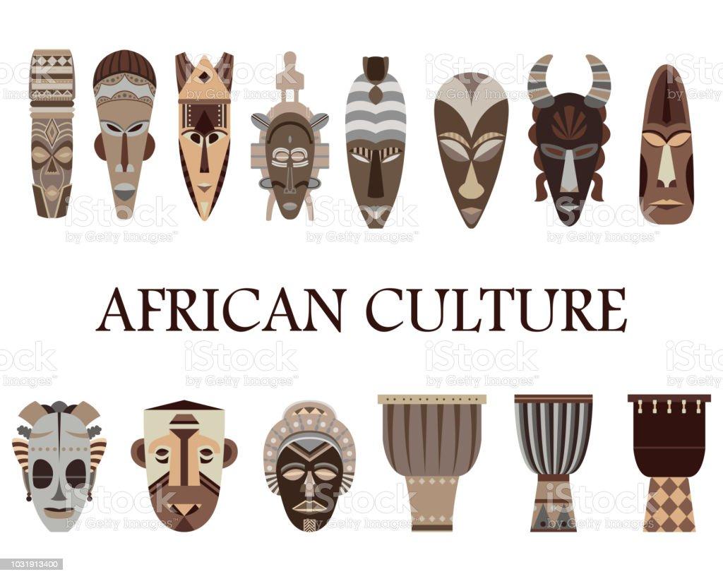 Color set of 14 African masks and drums. African culture. vector art illustration