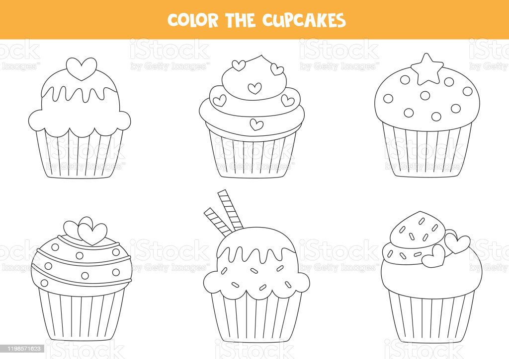 - Color Set Of Cute Cupcakes Coloring Page For Kids Stock Illustration -  Download Image Now - IStock