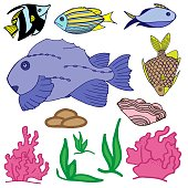 Color set of fishes, seashell and corals. Illustration with stones and sea plants for stickers.