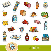 Color set of food, collection of vector items with names in English. Cartoon visual dictionary for kids