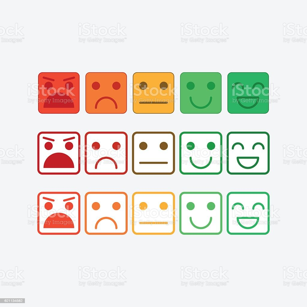 Color set square icon of Emoticons. Rank, level satisfaction rating - Illustration vectorielle