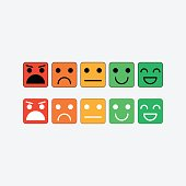 Color set square icon of Emoticons. Rank, level satisfaction rating