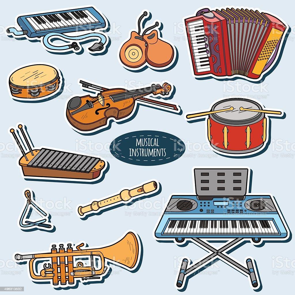 Juego de Color con instrumentos musicales de historieta, vector pegatinas - ilustración de arte vectorial