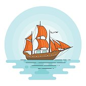 Color ship with orange sails in the sea. Sailboat on waves for trip, tourism, travel agency, hotels,vacation card,banner