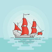 Color ship with red sails in the sea. Sailboat on waves for trip, tourism, travel agency, hotels,vacation card,banner