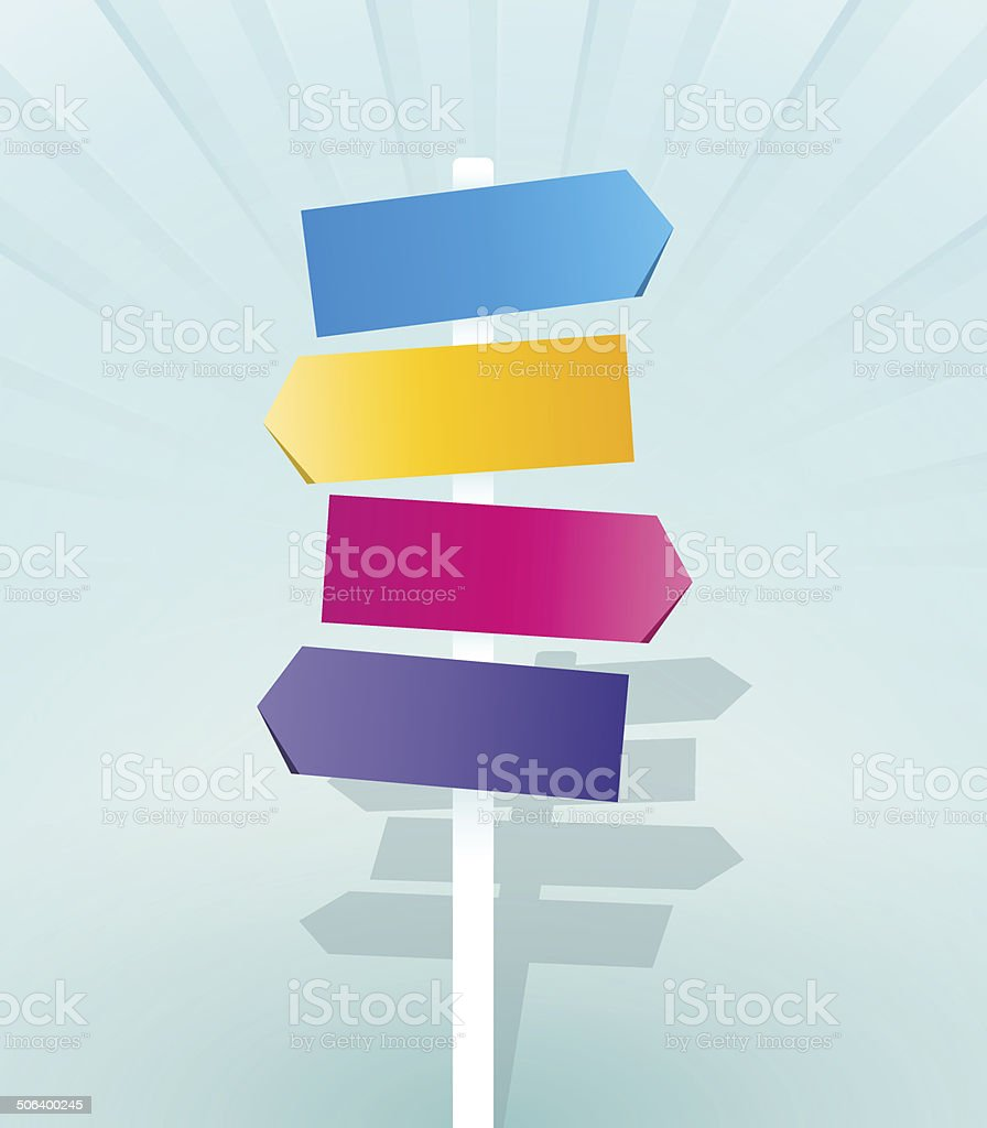 color signpost vector art illustration