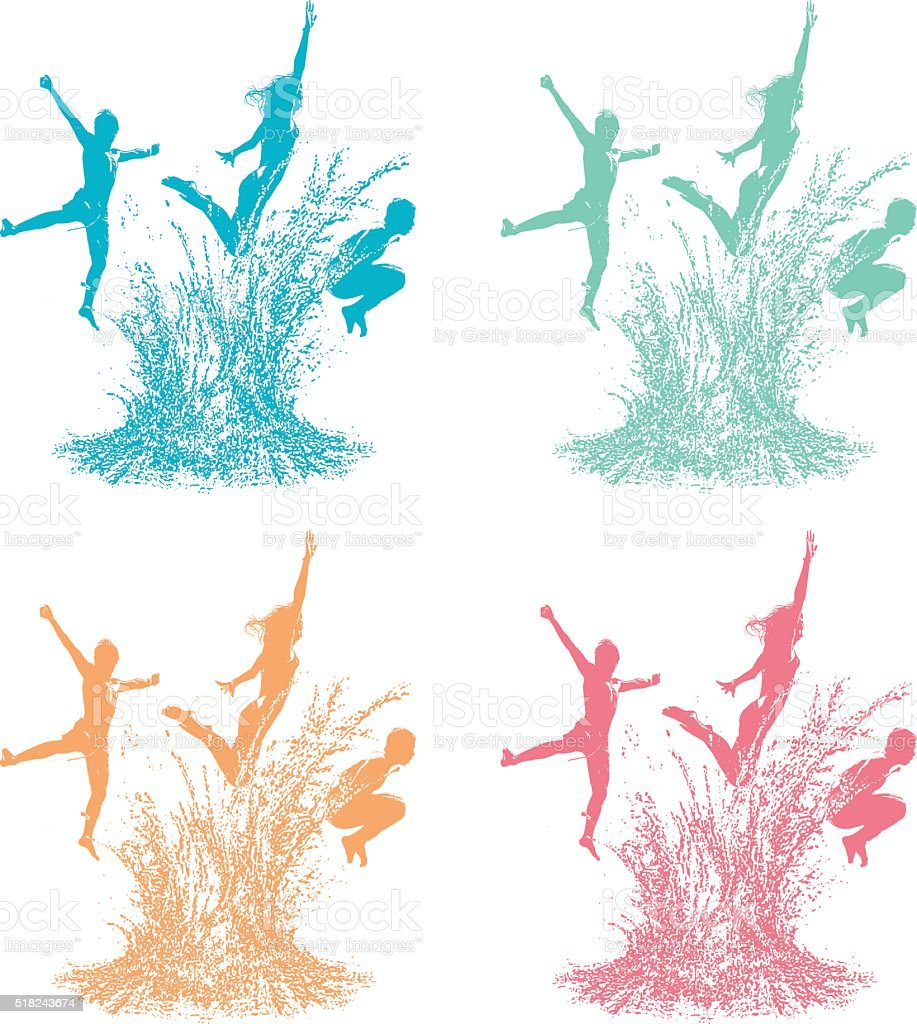 pool splash vector. Color Silhouettes Of Kids Diving Into Pool With Large Splash Royalty-free Vector