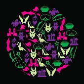 color simple fairy tales theme icons in circle eps10