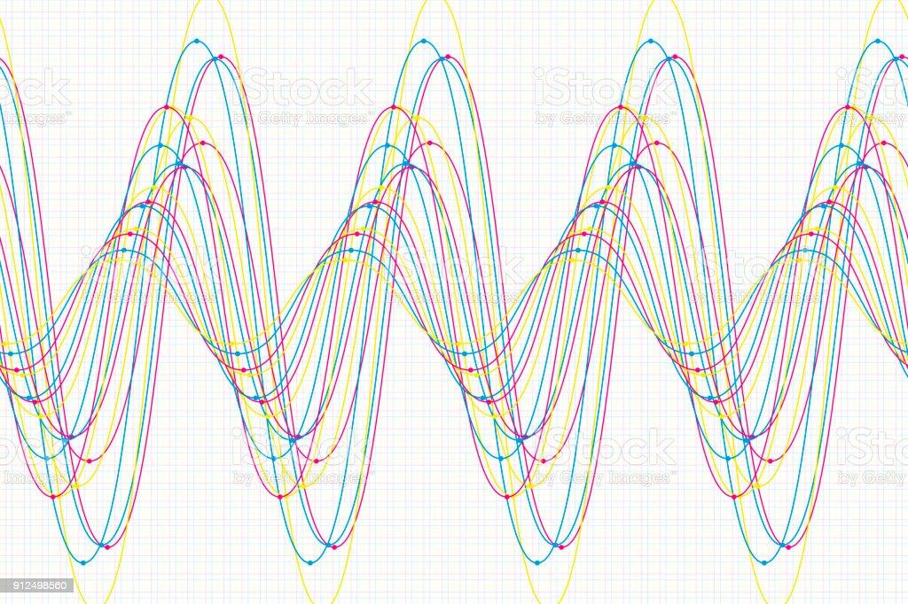 Color Sine Wave Line Pattern Horizontal vector art illustration