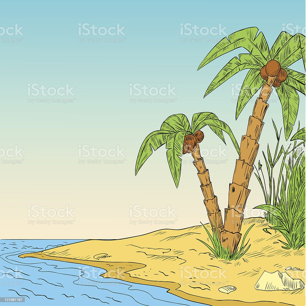 Color Sketch Tropical Palm On Coast Of Ocean Stock Vector Art & More ...