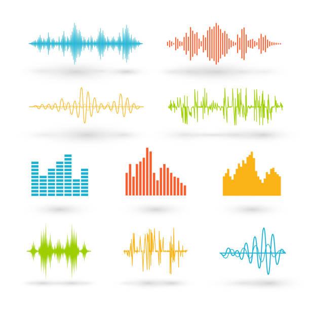 farbe-wellen - sound wave grafiken stock-grafiken, -clipart, -cartoons und -symbole