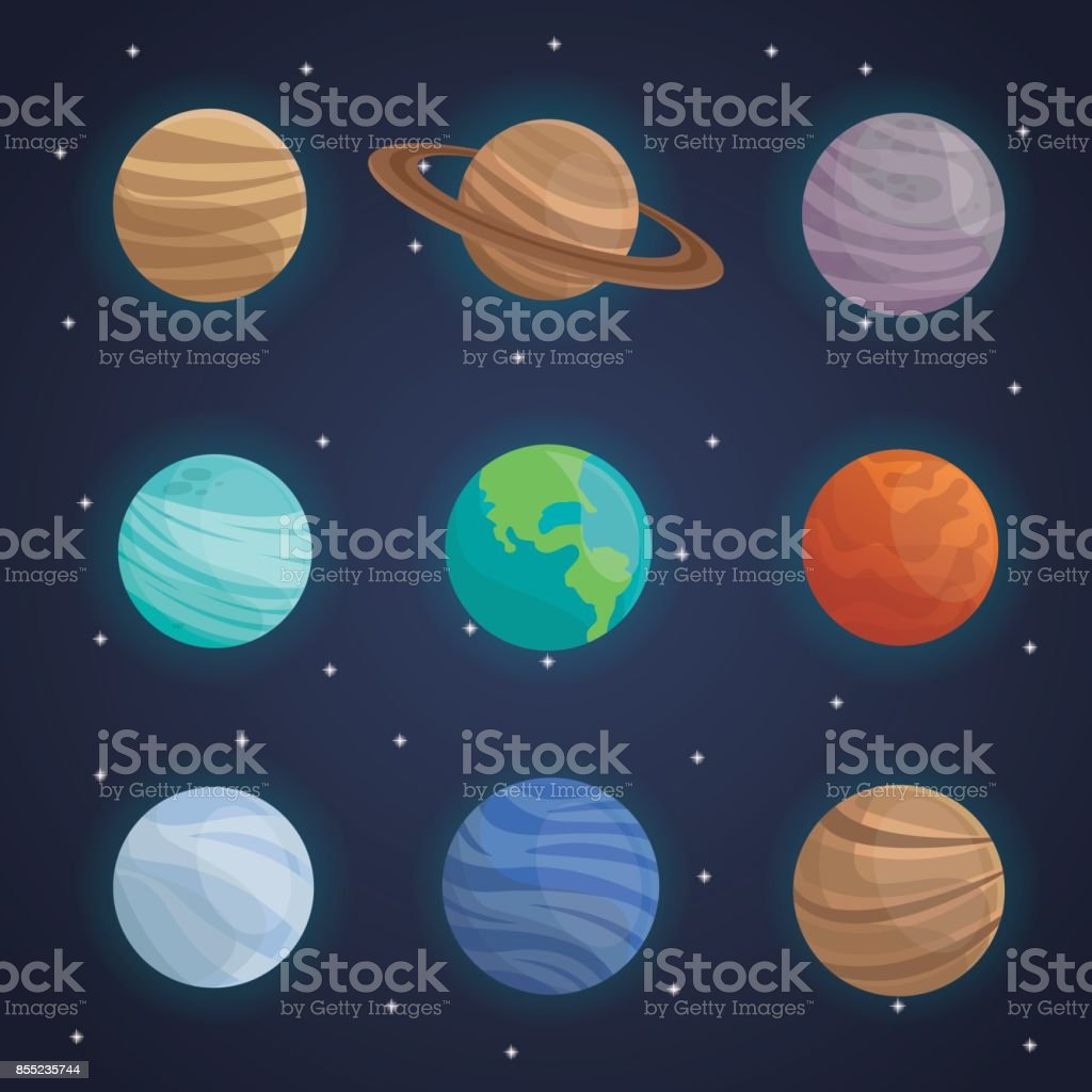 Famosos Fundo De Paisagem De Espaço De Cor Com Planetas Do Sistema Solar  BW64