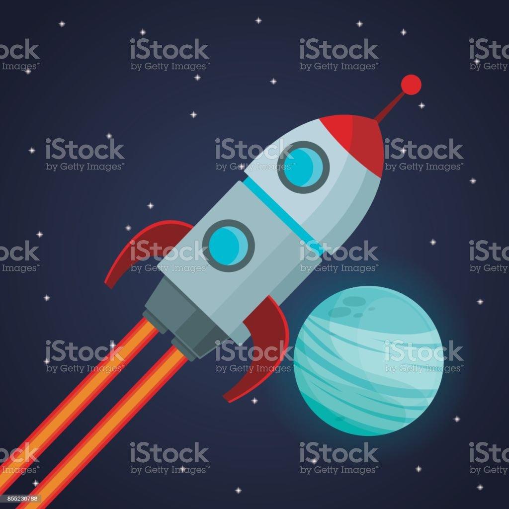 Ilustración de Espacio De Color De Fondo Con Nave Espacial Del ...