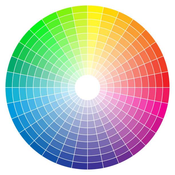 illustrazioni stock, clip art, cartoni animati e icone di tendenza di color spectrum abstract wheel, colorful diagram background. color wheel isolated on white background. - huế