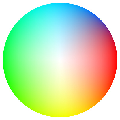 Color spectrum circle on white background