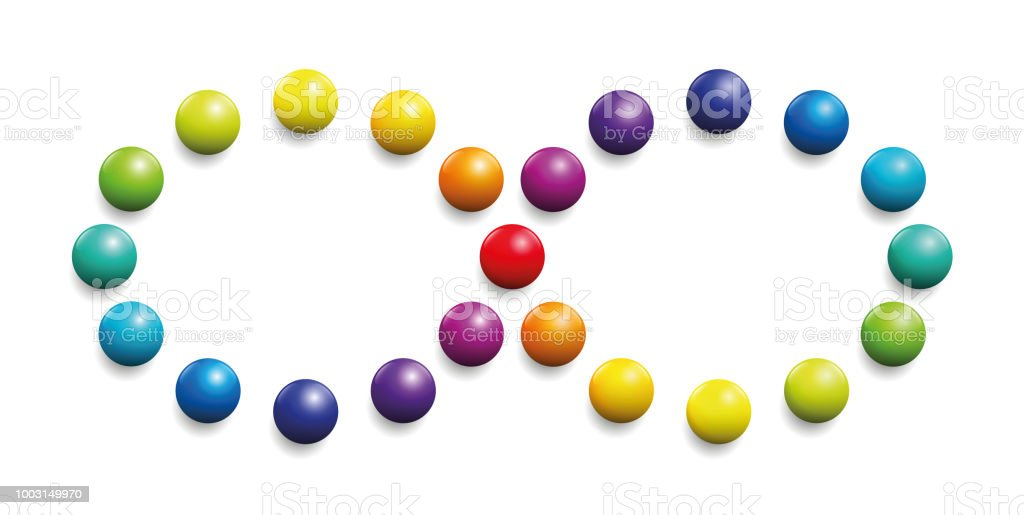 Color Spectrum Formed By Balls As Infinity Symbol Illustration Over