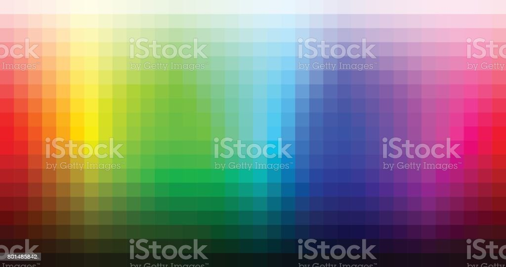 Color spectrum mosaic palette, hue and brightness. Vector vector art illustration