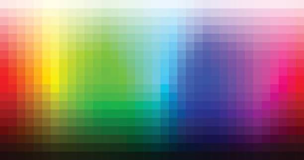 ilustrações, clipart, desenhos animados e ícones de paleta de mosaico de espectro de cores, matiz e brilho. vector - amostra de cor