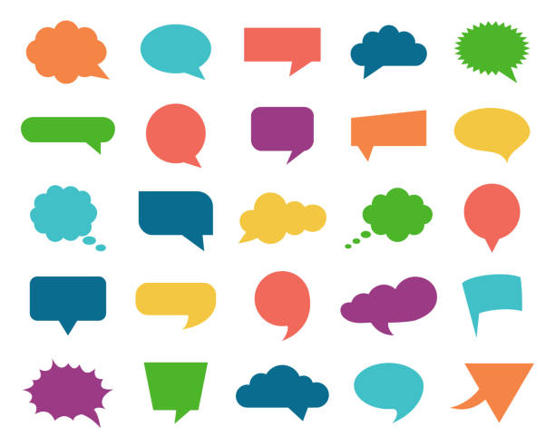 Color Speech Bubble Icons Set Vector illustration of  the color speech bubble icons set speech bubble stock illustrations