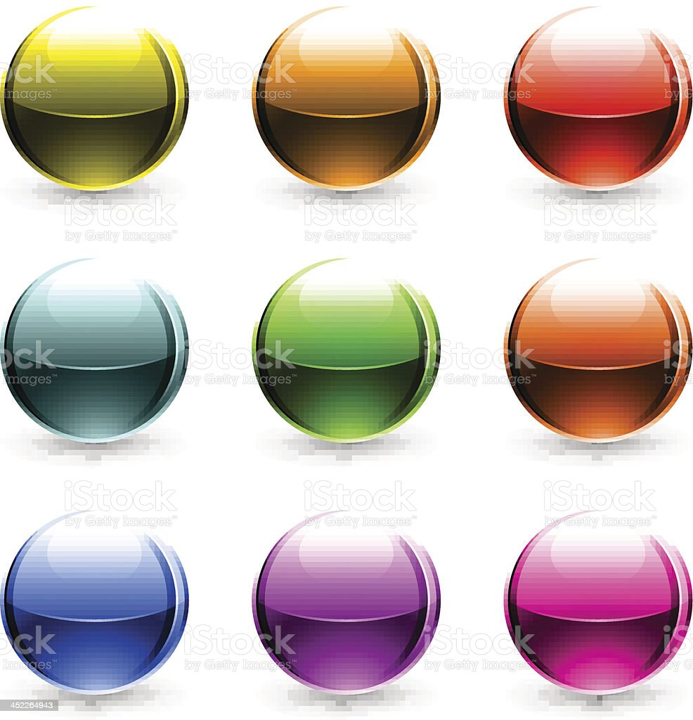 Color sphere glossy ball chrome icon web internet button royalty-free stock vector art