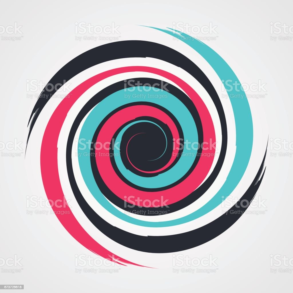 color spiral swirl with brush in flat style vector illustration vector art illustration