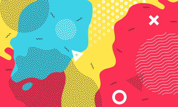 Color splash flat pattern background art vector wallpaper Abstract pop art color background with bright yellow, red and blue paint splash. Vector overlay pattern with black and white geometric forms with line and dots in trendy  80s-90s style. youth culture stock illustrations
