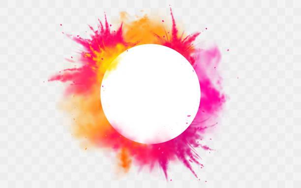 Farbspritzer Holi Pulver malt runde Farbstoff Grenze – Vektorgrafik