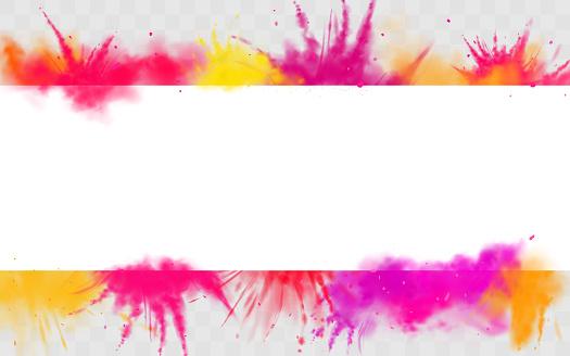 Color splash Holi powder paints round dye border