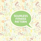 Color Sport and fitness seamless doodle pattern with sticker fra
