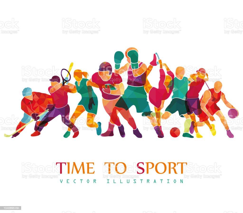 Color sport background. Football, basketball, hockey, box, golf, tennis. Vector illustration vector art illustration