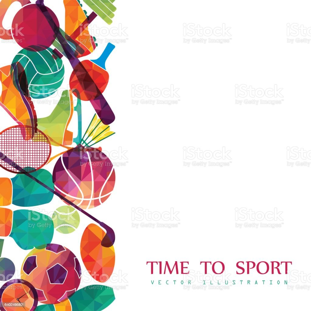 Color sport background. Football, basketball, hockey, box, golf, tennis. Vector vector art illustration