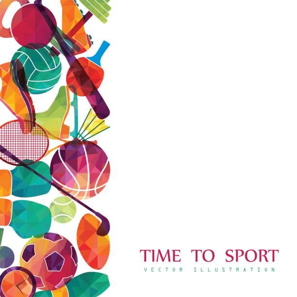 stockillustraties, clipart, cartoons en iconen met color sport background. football, basketball, hockey, box, golf, tennis. vector - sportartikelen