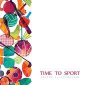 Color sport background. Football, basketball, hockey, box, golf, tennis. Vector