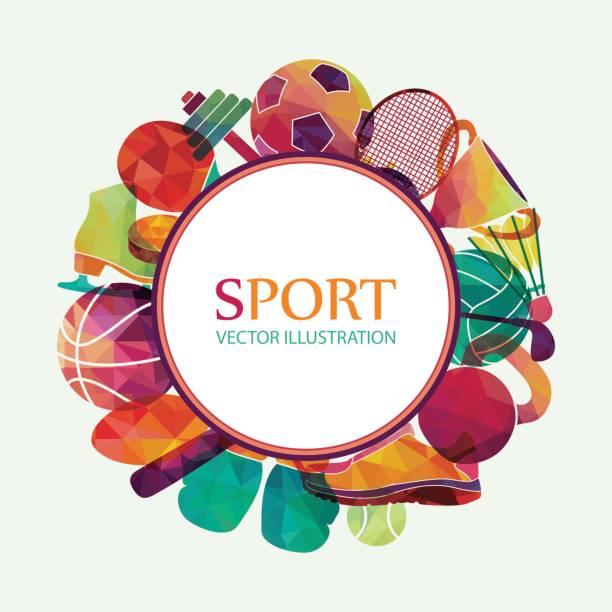 color sport background. football, basketball, hockey, box, golf, tennis. vector - sports equipment stock illustrations, clip art, cartoons, & icons