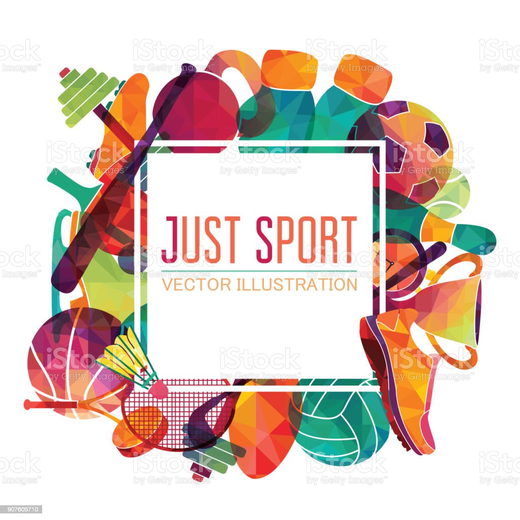 Color sport background. Football, basketball, hockey, box, golf, tennis. Vector illustration vector art illustration