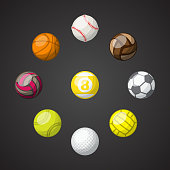 Set of different color sport balls isolated on dark background