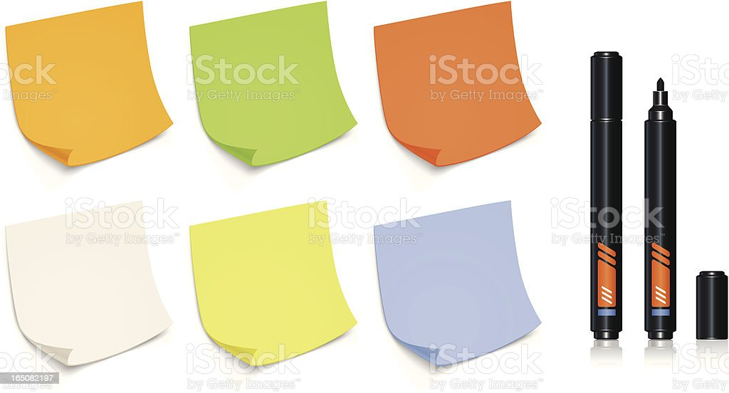 Color sticky notes and marker royalty-free color sticky notes and marker stock vector art & more images of advice