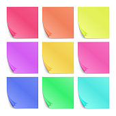 Color sticky notes for notes vector set